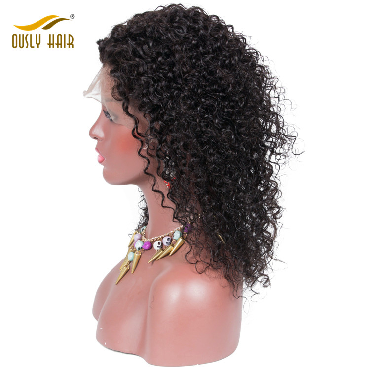 unprocessed brazilian kinky curly 100% human hair lace front wigs with baby hair