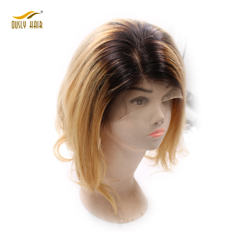 Short Human Hair Lace Front Wigs Ombre Color Peruvian Bob Non Remy Two Tone Hair Wig with Baby Hair
