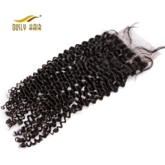 【3 PCS FREE SHIPPING】Ously Hair Malaysian Curly Lace Closure 4*4 Natural Color Remy Human Hair 8 inches to 20 inches