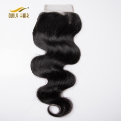 【3 PCS FREE SHIPPING】Ously Hair 4x4 Brazilian Remy Hair Body Wave Lace Closure 100% Human Hair Natural Black