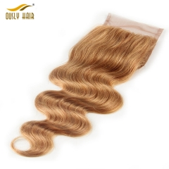 【3 PCS FREE SHIPPING】Ously Hair #27 4X4 Body Wave Lace Closure Honey Blonde 100% Brazilian Human Hair Remy Hair Closure with Baby Hair
