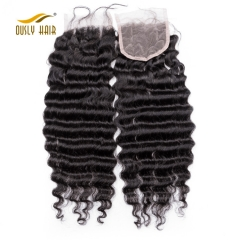 "【3 PCS FREE SHIPPING】Ously Hair Brazilian Virgin Hair Deep Wave Closure 100% Human Hair 4""*3.5"" Swiss Lace Natural Color"