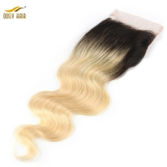 【3 PCS FREE SHIPPING】Ously Hair 1B/613 Body Wave 4x4 Lace Closure Ombre Brazilian 100 Human Hair Remy Hair Closure with Baby Hair