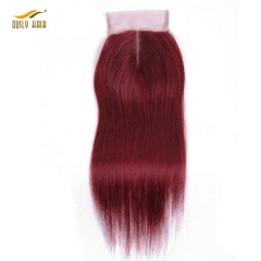 【3 PCS FREE SHIPPING】Ously Hair Red 99J Closure Straight Brazilian Hair Weave 4*4 closure 8-20 Remy Human Hair
