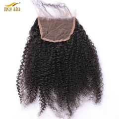 【3 PCS FREE SHIPPING】Ously Hair  Afro Kinky Curly Lace Closure 4*4 100% Human Hair Mongolian Remy Hair Natural Black Color