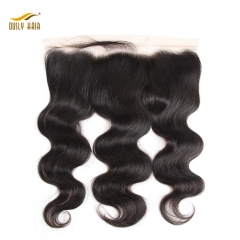 【2 PCS FREE SHIPPING】Ously Hair Lace Frontal Closure Body Wave With Baby Hair  100% Peruvian Remy Hair Closures 13*4 Bleached Knots