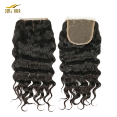 【3 PCS FREE SHIPPING】Ously Hair Lace Closure 5x5 Loose Wave Weave Peruvian Human Hair Bleached Knots With Natural Hair line Remy Hair