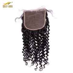 【3 PCS FREE SHIPPING】Ously Hair Unprocessed Brazilian Virgin Hair Deep Curly Closure Natural Hairline Bleached knots 5x5 Lace Closure With Baby Hair