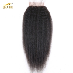 【3 PCS FREE SHIPPING】Ously Hair Kinky Straight 5*5 Lace Closure For Black Women With Baby Hair Natural Color Brazilian Remy Human Hair Bleached Knots