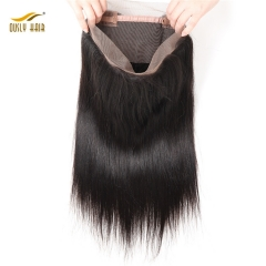 【2 PCS FREE SHIPPING】Ously Hair Brazilian Straight Pre Plucked 360 Lace Frontal Closure with Baby Hair Human Hair Natural Hairline