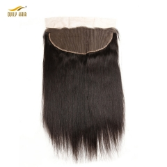 【2 PCS FREE SHIPPING】Ously Hair Brazilian Straight 13X6 Lace Frontal with Baby Hair Human Hair Color 1b Remy Hair