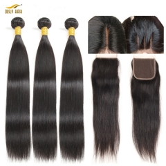 Ously Hair online hot sellers brazilian hair Straight natural color virgin hair bundles with lace frontal closure 4x4  Free Shipping
