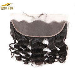 【2 PCS FREE SHIPPING】Ously Hair Loose Wave 13x4 inch Lace Frontal Peruvian Remy Hair Free Part Style 100% Human Hair