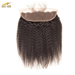 【2 PCS FREE SHIPPING】Ously Hair  Pre Plucked Peruvian Kinky Straight Lace Frontal Closure With Baby Hair 13*4 Remy Human Hair Natural Hairline