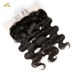 【2 PCS FREE SHIPPING】Ously Hair 13x6 Pre Plucked Hair Line Lace Frontal Brazilian Virgin Hair Body Wave Natural Color Closure Swiss Lace