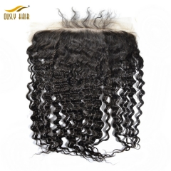 【2 PCS FREE SHIPPING】Ously Hair Lace Frontal 13x6 Deep Wave Brazilian Virgin Human Hair Ear To Ear Bleached knots Pre Plucked With Baby Hair