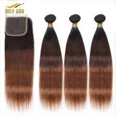 Buy 3 Bundles with Closure Free Shipping Ously Hair Brazilian Straight Hair Bundles with Closure 1B/4/30 Ombre Human Hair with Lace Closure