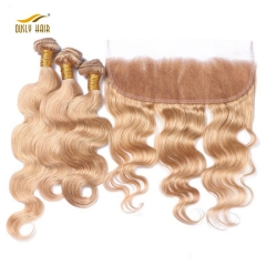 Ously Hair Body Wave Human Hair Bundles With 13*4 Closure 27# Color For Hair Salon Brazilian Human Hair Free Shipping