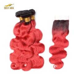 Ously Hair Ombre Brazilian Human Hair Weave Body Wave 3 Bundles with Closure Middle Part 1B/Red Blonde Remy Hair Free Shipping