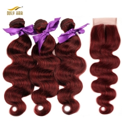Ously Hair 3 Bundles Bold Red 99J Burgundy Brazilian Body Wave with Closure 100% Human Hair Extension Remy Hair Free Shipping