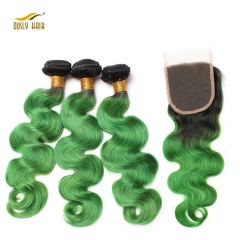 Ously Hair Ombre Brazilian Human Hair Body Wave 3 Bundles With Closure T1B/Green Remy Hair Weave Green Lace Closure Free Shipping