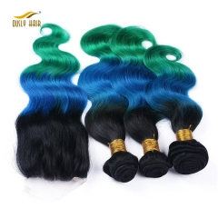 Ously Hair Ombre Brazilian body Wave Human Hair Bundles with Lace Closure  T1B/Blue/Green Free Shipping