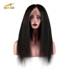 High Density Kinky Straight Hair Wig Brazilian Remy Hair Lace Front Wig With Baby Hair Free Shipping