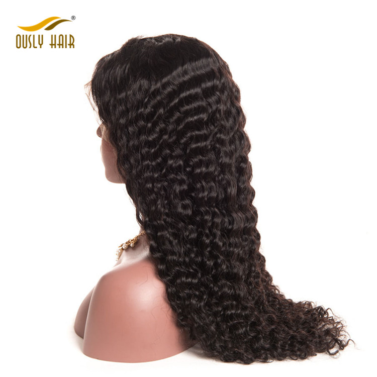 Lace Front Human Hair Wigs For Black Women Natural Black Deep Wave Brazilian Hair Wigs Swiss Lace Wig
