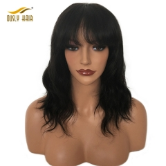 Short Glueless Lace Front Human Hair Wigs With Bangs Wavy Brazilian Wigs For Black Women Remy Natural Black Color Free Shipping