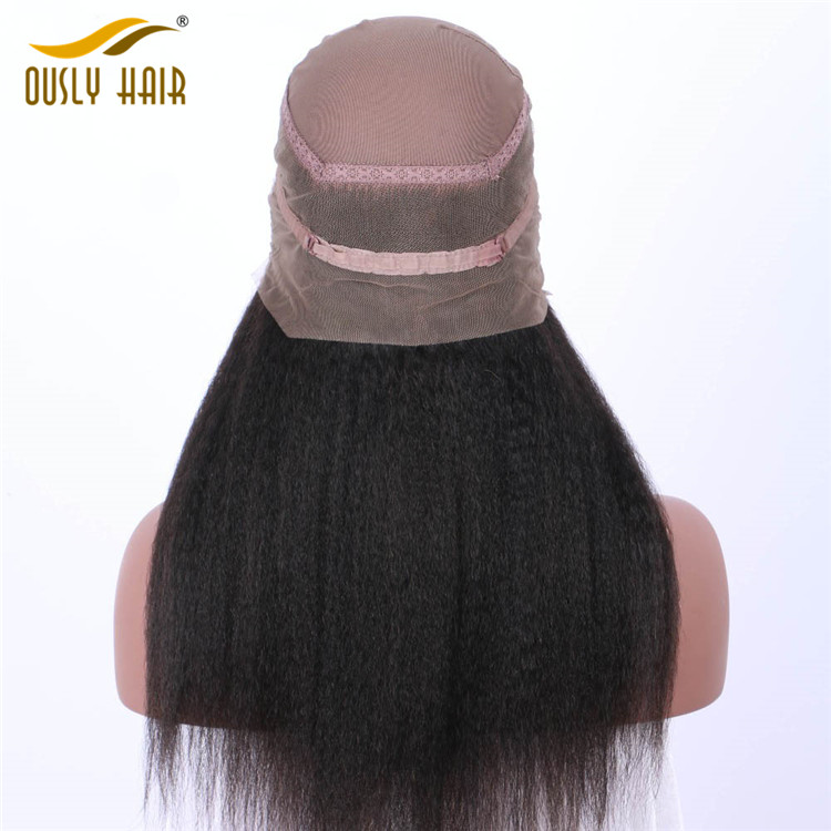 【2 PCS FREE SHIPPING】Ously Hair Malaysian Remy Human Hair Kinky Straight Pre Plucked 360 Lace Frontal Closure With Baby Hair Swiss Lace Bleached Knots