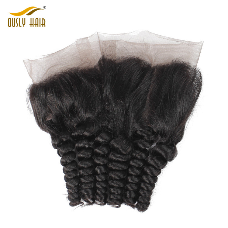 【2 PCS FREE SHIPPING】Brazilian 100% Remy Human Hair Charming Loose Wave 360 Lace Frontal With Baby Hair Bleached Knots Free Part Closure Ously Hair