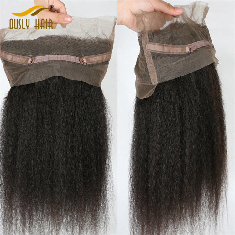 【2 PCS FREE SHIPPING】Brazilian Virgin Human Hair Kinky Straight 360 Lace Frontal Closure With Baby Hair Pre Plucked Ously Hair