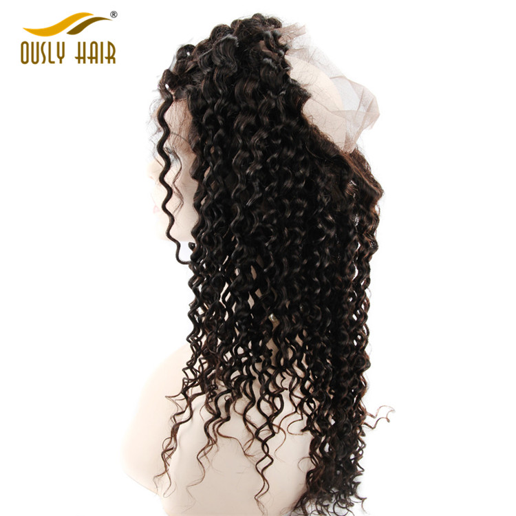 【2 PCS FREE SHIPPING】Ously Hair Deep Wave Peruvian Human Hair Pre Plucked Hair Line 360 Lace Frontal Closure Free Part With Baby Hair