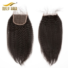 【3 PCS FREE SHIPPING】Ously Hair Peruvian Afro Kinky Straight 4*4 Lace Closure With Baby Hair Natural Color 100% Remy Hair For Black Women