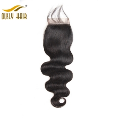 【3 PCS FREE SHIPPING】Ously Hair Brazilian Charming Body Wave 4*4 Lace Closure 130% Density Natural Human Remy Hair Bleached Knots