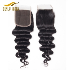 【3 PCS FREE SHIPPING】Ously Hair Virgin Brazilian Hair Loose Deep Wave 4*4 Lace Closure With Baby Hair Bleached Knots