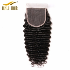 【3 PCS FREE SHIPPING】Brazilian Flossy Deep Wave Lace Closure 4*4 100% Remy Human Hair Ously Hair 8-20 Inch Bleached Knots