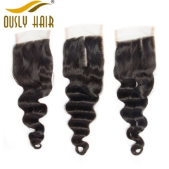 【3 PCS FREE SHIPPING】Malaysian Graceful Loose Wave 4*4 Lace Closure Ously Hair 100% Remy Hair Natural Color Lace Closure 8-20 Inch Swiss Lace