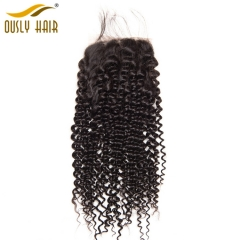 【3 PCS FREE SHIPPING】Brazilian Hair Weave Afro Kinky Curly 4*4 Lace Closure Remy Human Hair Lace Closure Natural Color For Black Women Ously Hair