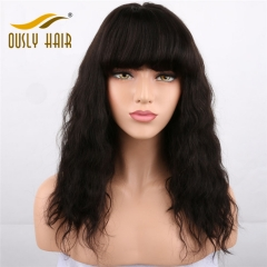 Brazilian Flossy Virgin Human Hair Wigs Natural Wave Lace Front Wigs With Bangs Bleached Knots Ously Hair