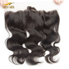 Peruvian Virgin Charming Human Hair Body Wave 13*4 Lace Frontal Closure Natural Color Closure Bleached Knots Ously Hair