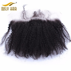 Ously Hair Brazilian Virgin Human Hair Afro Kinky Curly 13*4 Pre Plucked Hair Line Lace Frontal Closure Bleached Knots Swiss Lace Closure