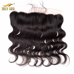 Ously Hair Body Wave Brazilian Virgin Human Hair 13*4 Lace Frontal Closure With Baby Hair Natural Color Bleached Knots Lace Frontal Closure