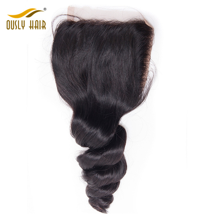 【3 PCS FREE SHIPPING】Ously Hair Brazilian Virgin Hair Weave Charming Loose Wave 4*4 Free Part Lace Closure Pre Plucked With Baby Hair Bleached Knots