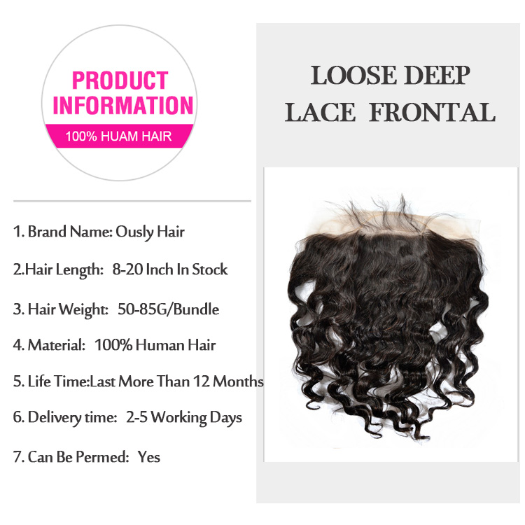 Ously Hair Peruvian Virgin Human Hair Loose Deep Wave 13*6 Lace Frontal Closure Pre Plucked With Baby Hair Bleached Knots Closure