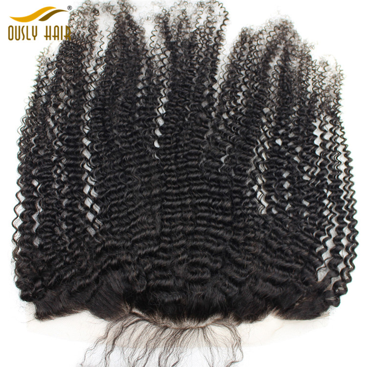 Ously Hair Brazilian Virgin Human Hair Afro Kinky Curly 13*4 Lace Frontal Closure Pre Plucked Hair Line With Baby Hair Lace Closure