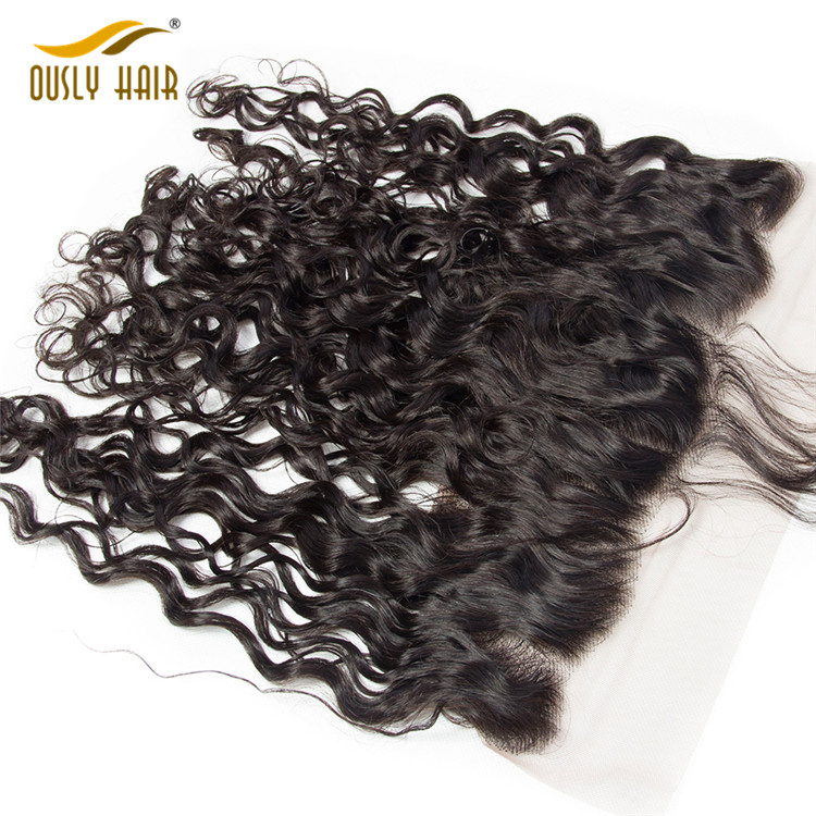 Ously Hair Brazilian Virgin Human Hair Weave Water Wave 13*4 Lace Frontal Closure Pre Plucked With Baby Hair  Bleached Knots Lace Frontal Closure