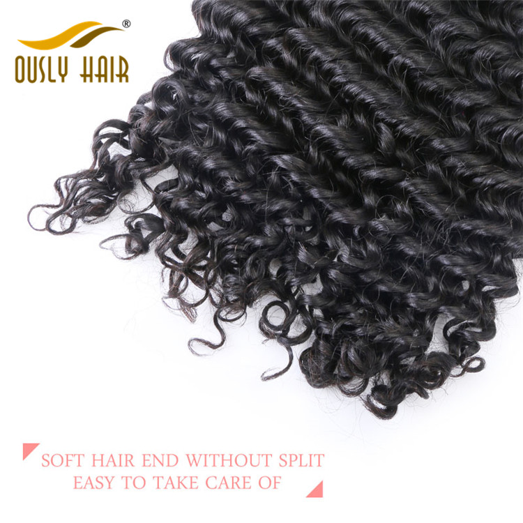 【3 PCS FREE SHIPPING】Ously Hair Peruvian Virgin Human Hair Weave Deep Wave 4*4 Free Part Lace Closure With Baby Hair Bleached Knots