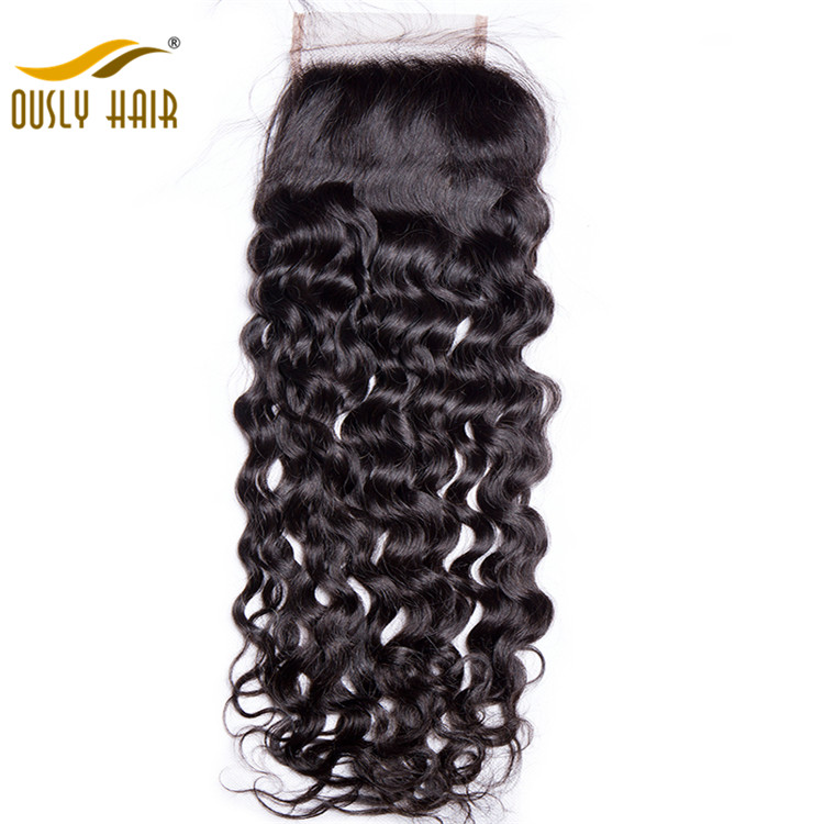 【3 PCS FREE SHIPPING】Ously Hair Virgin Brazilian Human Hair Weave  Water Wave 4*4 Free Part Lace Closure For Woman Swiss Lace With Baby Hair