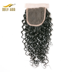 【3 PCS FREE SHIPPING】Peruvian Virgin Hair Weave Charming Water Wave 4*4 Free Part Lace Closure With Baby Hair Swiss Lace For Black Woman Ously Hair